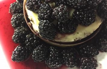 Wined Blackberries Over Baked Brie