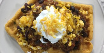 Beef Chili Over Jalapeno Cheddar Cornbread Waffles