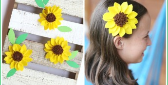 felt sunflower hairclip
