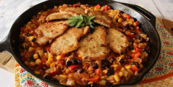 Southwest Pork Cutlets with Calico Rice