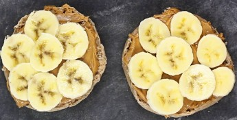 English muffin and peanut butter and banana