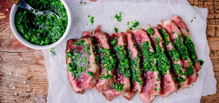 beef with chimichurri sauce