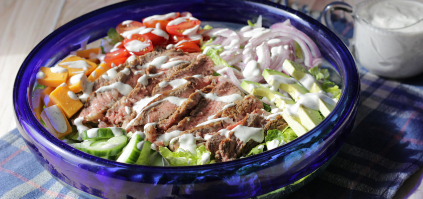 steak salad with homemade ranch dressing
