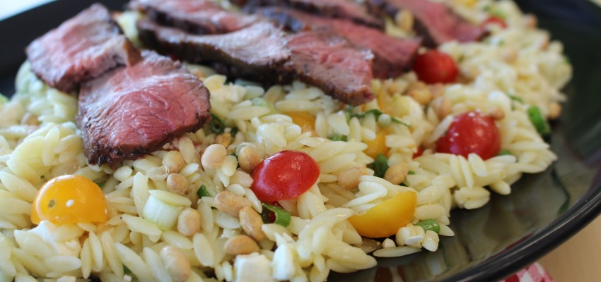 Orzo Pasta Salad with Grilled Flat Iron Steak | Chef Alli | Kansas Living