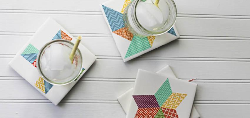 quilt block inspired coaster