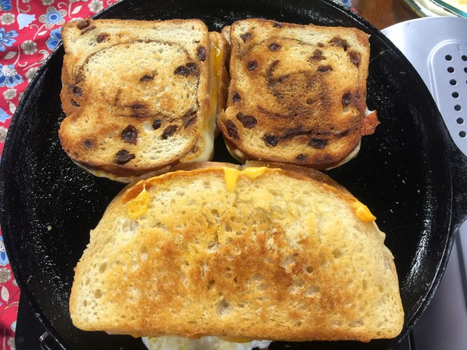Apricot grilled cheese on raisin bread