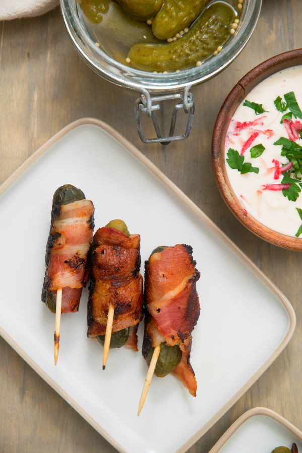 Grilled Bacon Wrapped Pickles with Creamy Garlic Dip