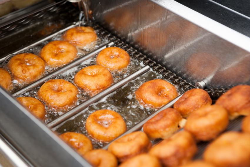 Donuts Frying in Oil