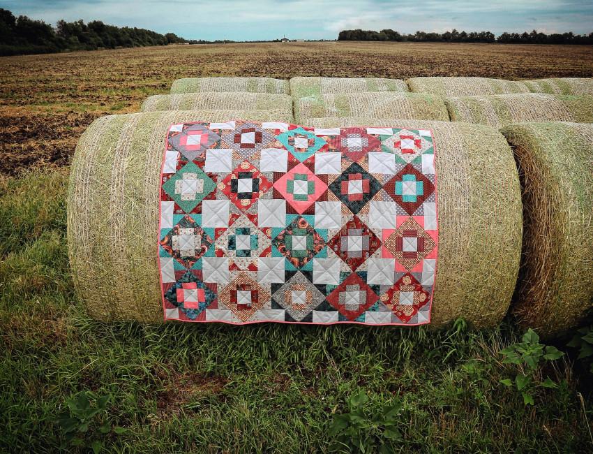 Quilt on hay in Kansas