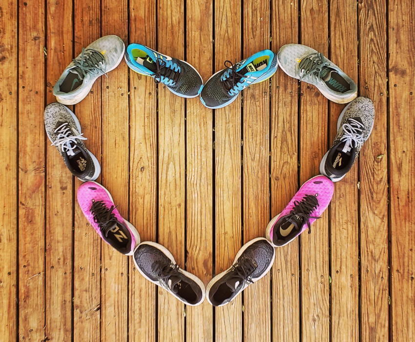 Running shoes in shape of a heart
