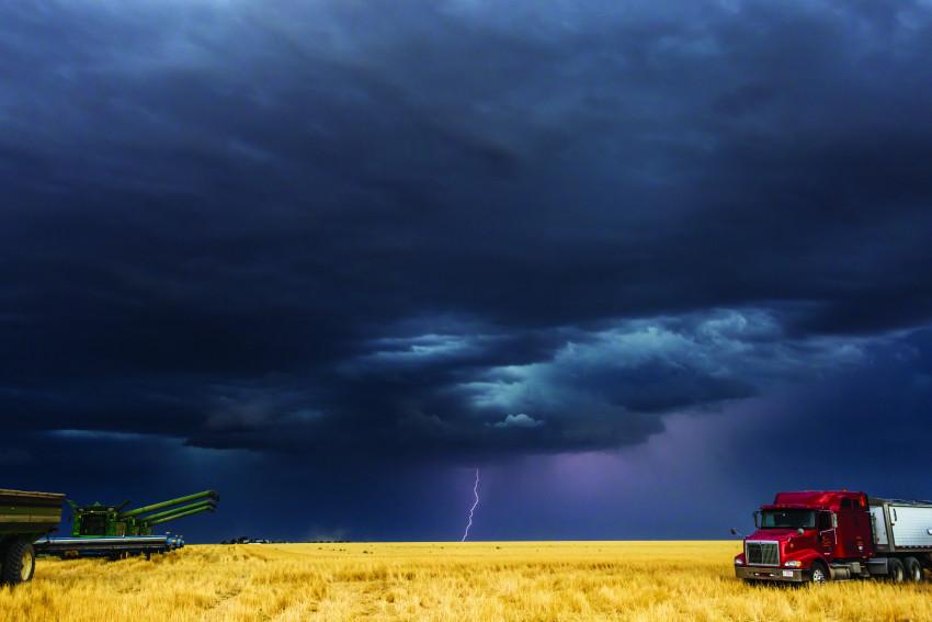 Lightning Over Wheat Field