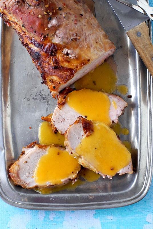 Boneless Pork Loin Roast with Peach-Moscato Sauce