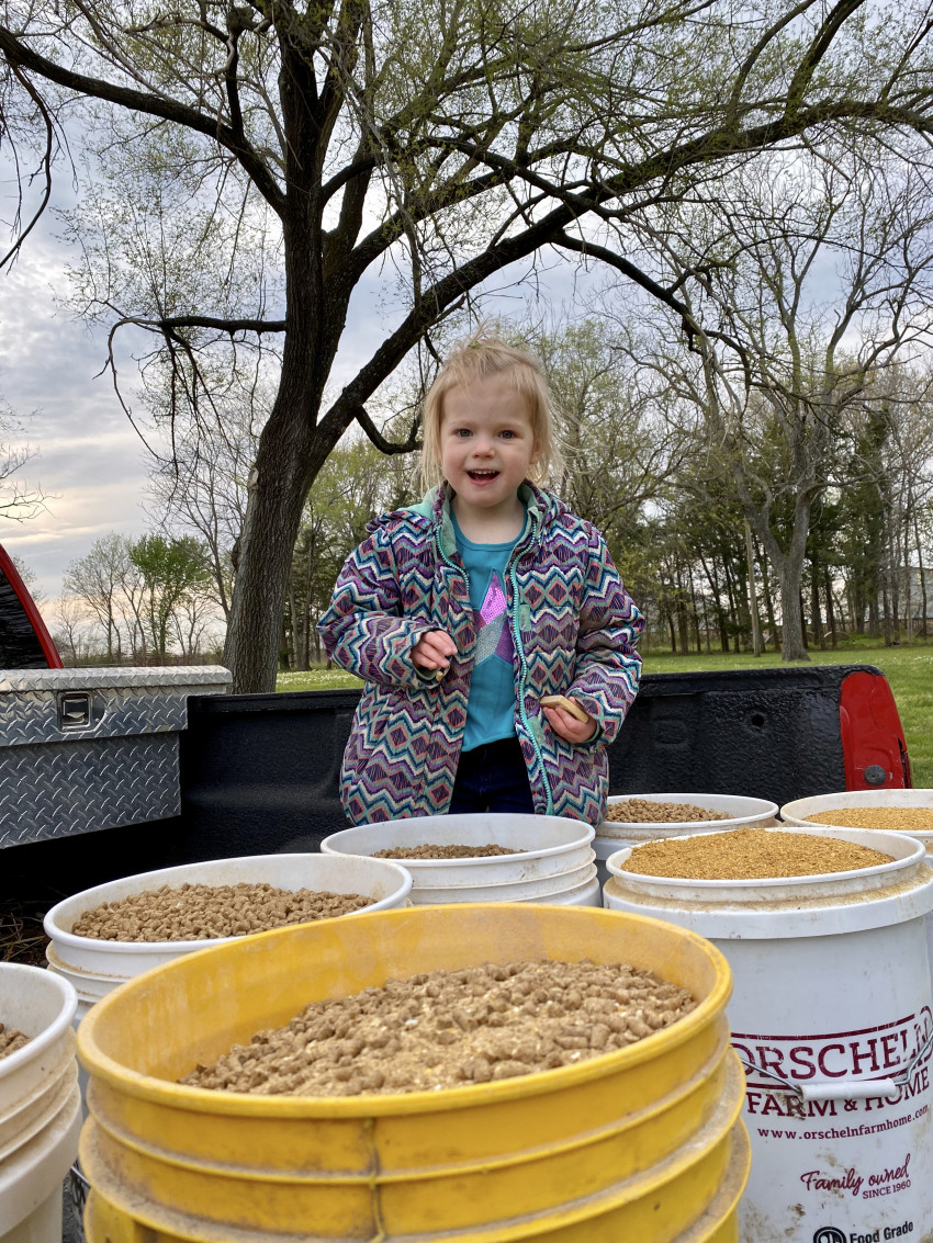 Brandi's daughter with feed buckets