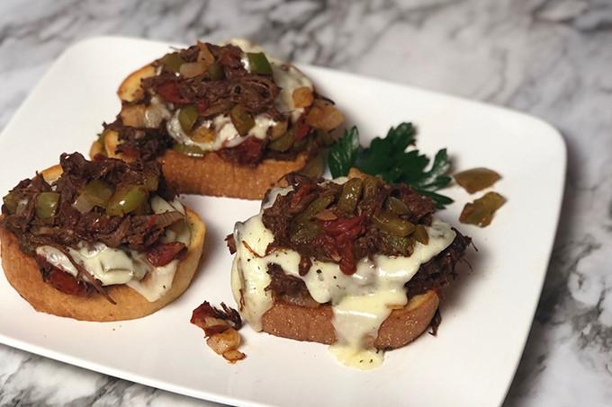 open face Italian beef sandwich