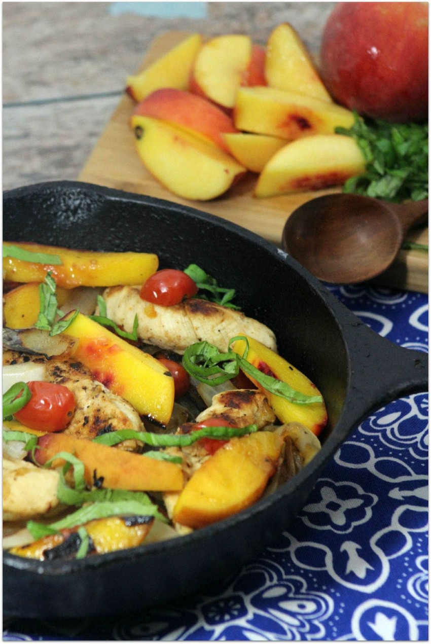 Chicken and Peaches with Balsamic Reduction
