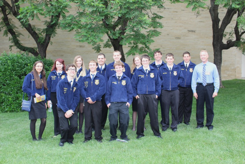 The Maize High School FFA chapter attends the FFA Convention in Manhattan with teacher Jay Super (far right).