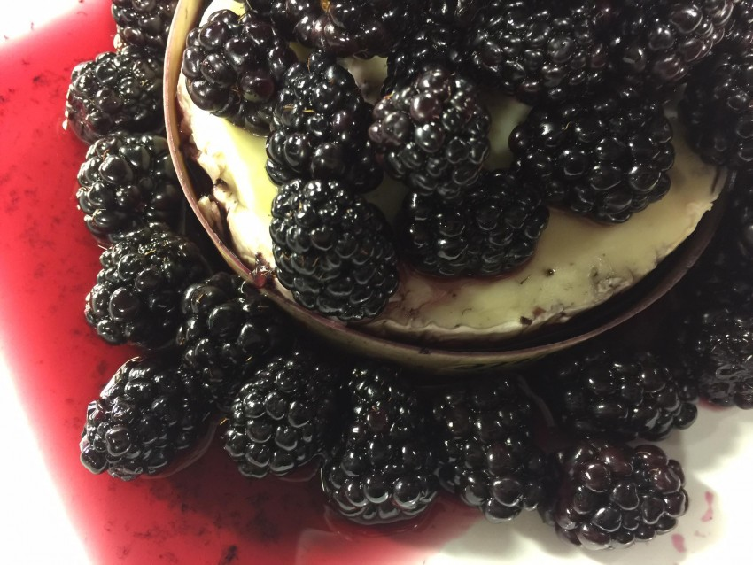 Wined Blackberries Over Baked Brie