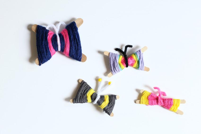 Make yarn butterflies