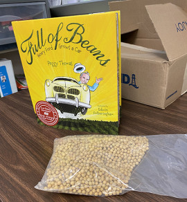 Full of Beans children's book and soybeans