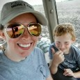 mom and son tractor ride