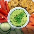crunchy snack with vegetables and hummus